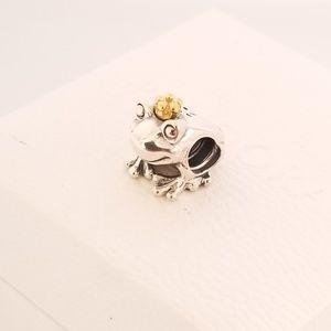 Pandora Frog Prince Charm Silver w/14K Gold Crown